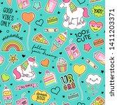 cute unicorns   girl's elements ... | Shutterstock .eps vector #1411203371