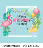 birthday card  congratulation... | Shutterstock .eps vector #1411211657