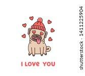 ute dog breed pug in hat  in... | Shutterstock .eps vector #1411225904