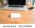 blank business cards on wooden... | Shutterstock . vector #1411228364