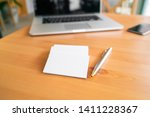 blank business cards on wooden... | Shutterstock . vector #1411228367