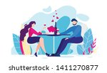 romantic dinner cartoon man and ... | Shutterstock .eps vector #1411270877