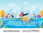 cartoon people cycling in park. ... | Shutterstock .eps vector #1411270901