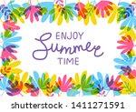 color tropical leaves frame for ... | Shutterstock .eps vector #1411271591