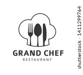 food logo with fork  knife and... | Shutterstock . vector #1411299764