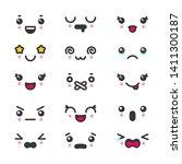 kawaii cute faces emoticons... | Shutterstock . vector #1411300187