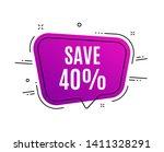 speech bubble banner. save 40 ... | Shutterstock .eps vector #1411328291