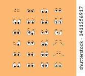 cartoon of black and white eyes ... | Shutterstock .eps vector #1411356917