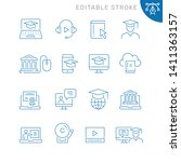 online education related icons. ... | Shutterstock .eps vector #1411363157