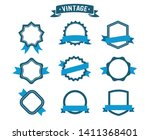 ribbons and labels. blue design ... | Shutterstock .eps vector #1411368401