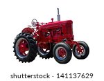 Big Red Tractor Isolated On...