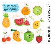 cute summer fruits doodle... | Shutterstock .eps vector #1411392737