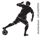 soccer play  silhouette athlete ... | Shutterstock .eps vector #1411403954