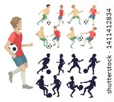 set of soccer players  two... | Shutterstock .eps vector #1411412834