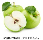 group of ripe green apple... | Shutterstock . vector #1411416617
