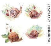 Watercolor Forest Snails Set. ...