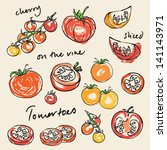 various tomatoes vector... | Shutterstock .eps vector #141143971