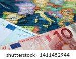 Euro banknote on the Europe map. Concept for Eurozone, European economy, stock market in EU - stock photo