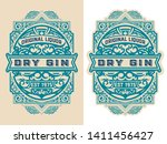 vintage label with floral... | Shutterstock .eps vector #1411456427