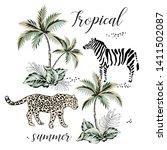 tropical leopard  zebra animal  ... | Shutterstock .eps vector #1411502087