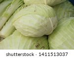 head cabbage at street food   Shutterstock . vector #1411513037
