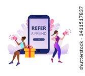 refer a friend. girls shout on... | Shutterstock .eps vector #1411517837