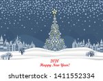 2020 happy new year greeting... | Shutterstock .eps vector #1411552334