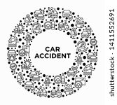car accident concept in circle...   Shutterstock .eps vector #1411552691