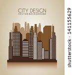 city design over brown... | Shutterstock .eps vector #141155629
