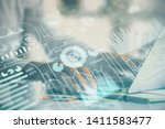 technology theme hologram with... | Shutterstock . vector #1411583477