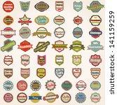 vector large set of 50 retro ... | Shutterstock .eps vector #141159259