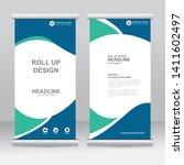 roll up banner stand template...   Shutterstock .eps vector #1411602497