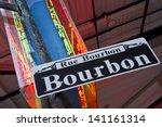 bourbon street sign and neon in ...   Shutterstock . vector #141161314