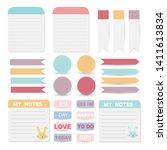 cute paper notes set. paper... | Shutterstock .eps vector #1411613834