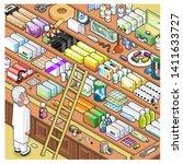 pharmacist looking desperately... | Shutterstock .eps vector #1411633727