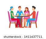 man and woman drinking... | Shutterstock .eps vector #1411637711