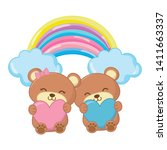 Toy Bears With Heart And Rainbow