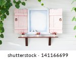 pink frame window with green... | Shutterstock . vector #141166699