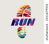 run symbol in grunge style ... | Shutterstock .eps vector #1411679531