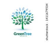 green tree stylized symbol ... | Shutterstock .eps vector #1411679534