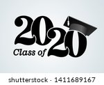 class of 2020 with graduation... | Shutterstock .eps vector #1411689167