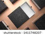 elegant open black gift box... | Shutterstock . vector #1411748207