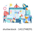 teamwork seo optimization of... | Shutterstock .eps vector #1411748291