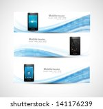 smart phone three colorful... | Shutterstock .eps vector #141176239