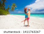 happy young couple having fun... | Shutterstock . vector #1411763267