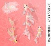 rose chinese  japanese koi... | Shutterstock .eps vector #1411773524
