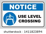 use level crossing sign. blue... | Shutterstock . vector #1411823894