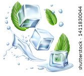 realistic ice cubes with green... | Shutterstock .eps vector #1411830044