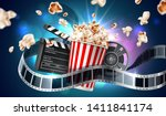 realistic cinema advertising... | Shutterstock .eps vector #1411841174