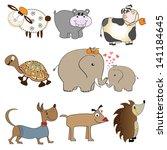 funny animals cartoon set... | Shutterstock .eps vector #141184645
